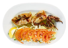 Grilled squid with vegetables Royalty Free Stock Photo