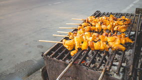 Grilled squids skewers. Royalty Free Stock Image