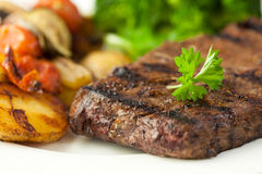 Grilled Steak. Served with grilled vegetables stock image