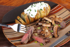 Grilled Steak And Potato Stock Photography