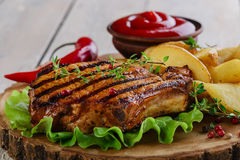 Grilled steak on the bone Royalty Free Stock Photo