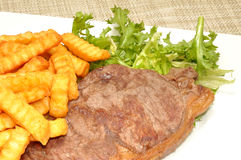 Grilled Steak And Chips Stock Photography