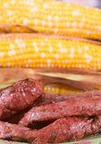 Grilled Steak and Corn Stock Images