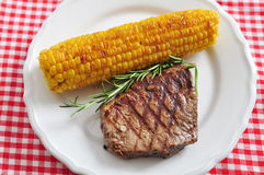 Grilled steak with corn Royalty Free Stock Photo