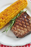 Grilled steak with corn Royalty Free Stock Image