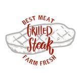 Grilled steak. Farm fresh best meat. Grilled meat. Design element for logo, label, emblem, sign, badge. royalty free illustration