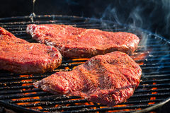 Grilled steak with fire toasted Stock Image