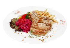 Grilled steak with french fries Royalty Free Stock Photo