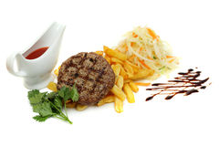 Grilled steak with fries Royalty Free Stock Image