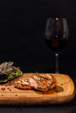 Grilled steak with glass red wine Stock Photography
