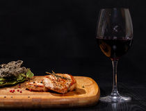 Grilled steak with glass red wine Royalty Free Stock Photo