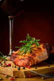 Grilled steak and glass of red wine Stock Image