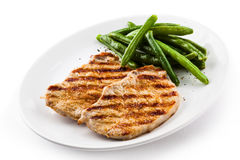 Grilled steak with green bean Royalty Free Stock Image