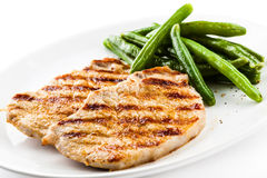 Grilled steak with green bean Stock Photo