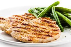 Grilled steak with green bean Stock Image