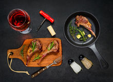 Grilled Steak Lamb Ribs with Rose Wine Stock Photos