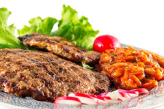 Grilled steak with lettuce Royalty Free Stock Photo