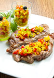 Grilled Steak Meat Stock Photo