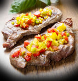 Grilled Steak Meat Stock Photography