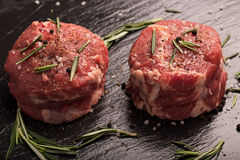 Grilled Steak Meat on the dark surface Royalty Free Stock Images
