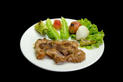 Grilled steak meat  isolated on black background,clipping path Royalty Free Stock Photos
