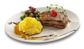 Grilled steak meat with mashed patetoes Stock Photos