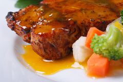 Grilled steak meat with sauce and vegetable Stock Images