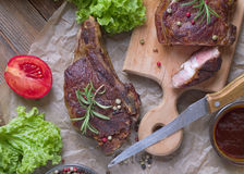 Grilled steak meat. View from above Stock Images