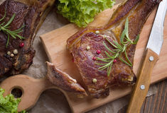 Grilled steak meat. View from above Royalty Free Stock Photography