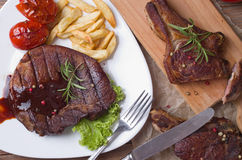 Grilled steak meat. View from above Stock Photography