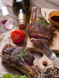 Grilled steak meat. On a wooden table Stock Photo