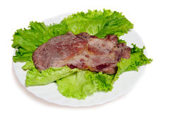 Grilled steak on plate isolated Royalty Free Stock Photo