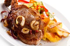 Grilled steak with potatoes stock photo