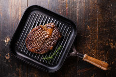 Grilled Steak Ribeye on grill pan Stock Images