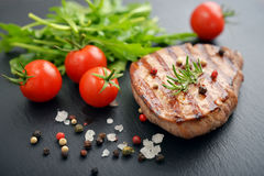Grilled steak with rukkola Royalty Free Stock Image