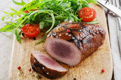 Grilled steak with salad Royalty Free Stock Photos