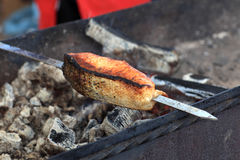 Grilled steak of salmon Stock Photography