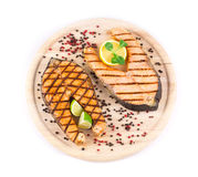 Grilled steak of salmon Royalty Free Stock Photos