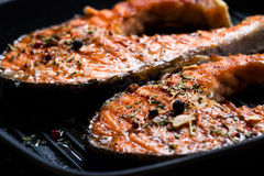Grilled steak salmon Stock Photography