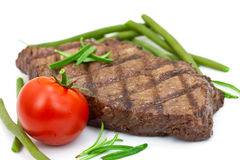 Grilled steak with tomato and green beans,isolated Stock Photo