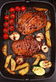 Grilled steak with vegetable Royalty Free Stock Photo