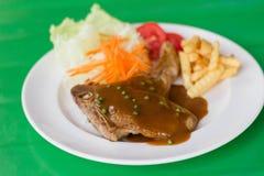 Grilled steak and vegetable salad. A Grilled steak and vegetable salad Royalty Free Stock Photos