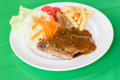 Grilled steak and vegetable salad. A Grilled steak and vegetable salad Royalty Free Stock Image