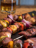Grilled steak and veggie kabobs Royalty Free Stock Image