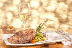 Grilled Steak and Wine Royalty Free Stock Images