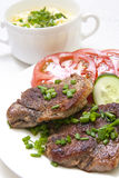 Grilled Steak With Fresh Vegetables In White Plate Royalty Free Stock Photos