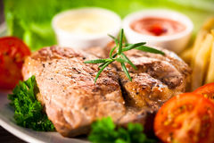 Grilled steak with yellow bean Stock Image