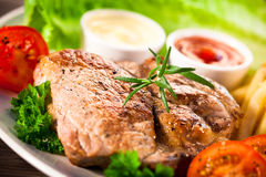Grilled steak with yellow bean Stock Photo