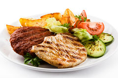 Grilled Steaks And Vegetables Stock Image