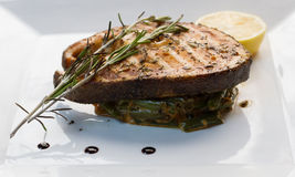 Grilled steaks of fresh fish with lemon and rosemary Stock Images